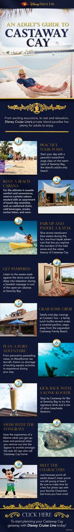 "Learn how to enjoy a little adult ""me-time"" while on Castaway Cay with this infographic!"
