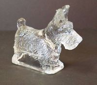"Vintage Glass Scotty Dog Scottish Terrier Miniature Figurine 4"" Candy Container"