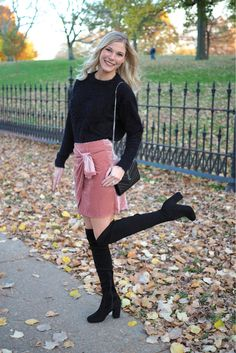 e726e86a6bdba The perfect velvet front tie skirt! I paired this skirt with over the knee  boot and a soft sweater from H M!