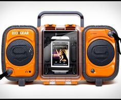 The Eco Terra BoomBox is a floating iPhone/MP3 waterproof player that is fully submersible in water. It features two large waterproof stereo speakers that play a  clean, crisp sound and is powered by 4 batteries or an included AC wall charger. The waterproof internal storage compartment holds and protects your keys, MP3 player, credit cards, wallet and money, keeping them safe from sun, sand and water. Eco Terra is waterproof and rugged, perfect for the beach, camping or using by the pool…