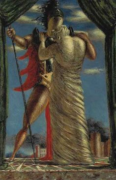 Giorgio De Chirico (Italian, 1888-1978), Ettore e Andromaca [Hector and Andromache], 1923. Tempera on canvas, 123.5 x 80 cm.