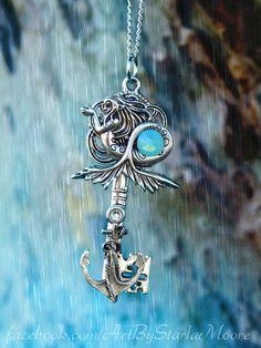 Siren in the Storm Fantasy Key Pendant OOAK by ArtbyStarlaMoore, $17.00