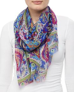 Dhely Silk Paisley Scarf, Black by Etro at Neiman Marcus.
