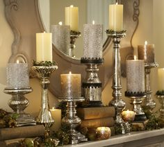 All things MERCURY! Mix and match height of both candle holders and candles to create visual interest.mercury is all year 'round! Like different heights and different candles Decor, Mercury Glass Candle Holders, Candle Displays, Candles In Fireplace, Candle Decor, Christmas Mantels, Fireplace Candle Holder, Candles, Pillar Candles