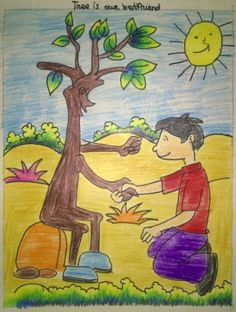 Save go sarika goyal · art competition ideas Tree Drawing For Kids, Easy Drawings For Kids, Painting For Kids, Art For Kids, Save Earth Drawing, Nature Drawing, Go Green Posters, Save Water Poster Drawing, Oil Pastel Paintings
