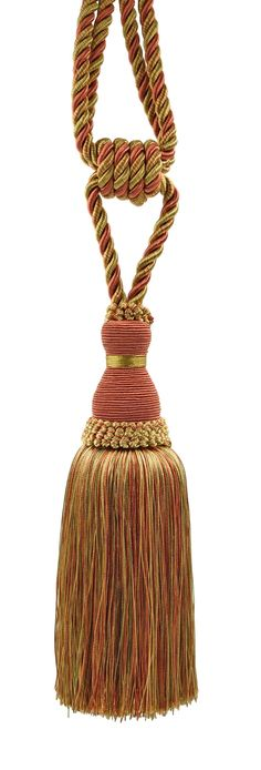 Elegant Copper, Olive Green, Light Gold Curtain & Drapery Tassel Tieback / 8 Inch tassel, 30 Inch Spread (embrace) Style# TBH8 - Rust 07