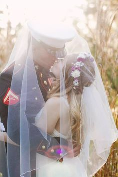 Boho wedding  military wedding  USMC wedding   Photo by Michelle Fader