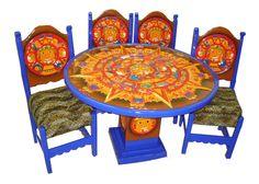 Comedor sol azteca Descripción Diseño: Sol azteca Color: Azul Asiento: Vinil textura de jaguar Mesa: Redonda  4 Personas