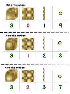 54 'Bring me' or 'make me' task cards for golden bead 'base 10' independent work in montessori casa or lower elementary classes. HOW TO USE The child takes one of these cards, makes the four digit number with Golden Beads or Stamp Game, then brings it to an older buddy or teacher to check.