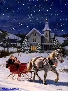 MOVING Snowing Christmas Sleigh Ride Scene - Snowing Christmas Scene  Gif