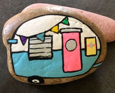 Happy Camper Trailer Painted Rock, Collectible & Decor