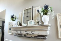 mantle - could make this so easy with one of those cheapie self mounting shelves from Homesense.