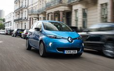 Download wallpapers Renault Zoe, 2018, city cars, hatchback, blue Zoe, 4k, French cars, Renault