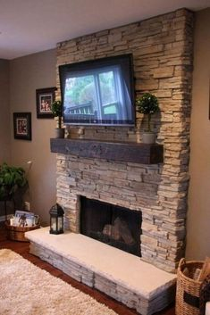 Small home Makeover - Awesome Fireplace Makeover Ideas. - Small home Makeover – Awesome Fireplace Makeover Ideas… - Gas Fireplace Mantel, Tv Above Fireplace, Basement Fireplace, Fireplace Remodel, Fireplace Surrounds, Fireplace Ideas, Fireplaces With Tv Above, Indoor Gas Fireplace, Corner Fireplaces