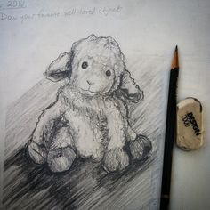 "Day 6 draw your favorite well loved object or childhood toy. Here's my son's stuffed sheep ""Lamby"". I really enjoyed this one! #everydaydrawingchallenge #eddc #artistsofinstagram #drawing #draw #sketchbook #sketchaday #sketching #artist #arteveryday #artoftheday #dailysketch #pencildrawing #stilllife #stuffedanimals #sheep #lamb #toy #blackwoodcottageart"