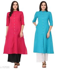 Kurtis & Kurtas Multicolored Cotton Kurti (Combo of 2)  *Fabric* Cotton  *Sleeves* Sleeves Are Included  *Size* XS, S, M, L, XL, XXL, 3XL,4XL ( Refer Size Chart For Details )  *Type* Stitched  *Description* It Has Combo of 2 Kurti  *Pattern* Solid  *Sizes Available* XS, S, M, L, XL, XXL, XXXL, 4XL *    Catalog Name: Solid Cotton Kurtis CatalogID_10640 C74-SC1001 Code: 949-107588-