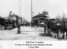 Railroad Crossing, Jackson and Johnson Streets around 1899, Elkhart, Indiana