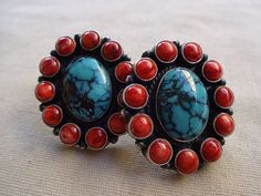 Signed KIRK SMITH Vintage NAVAJO Sterling Silver & Turquoise Cluster Earrings