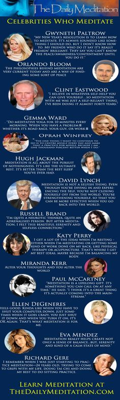 celebrities who meditate infographic