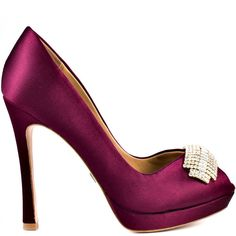 Badgley Mischka Women's Julia - Wine Satin ($264) ❤ liked on Polyvore featuring shoes, pumps, heels, red, red platform pumps, red peep toe pumps, high heel platform pumps, stiletto heel pumps and platform stiletto pumps