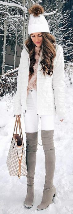 #winter #fashion / White Beanie / White Puff Jacket / White Skinny Jeans / Grey OTK Boots / Pink Turtleneck