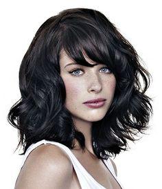 medium black wavy shaggy coloured volume choppy hairstyles for women by Jean Louis David via Ukhairdressers.com