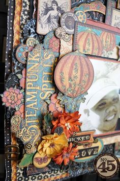 Some of the great dimension of Arlene's Steampunk Spells layout! #graphic45 #layouts #scrapbooking