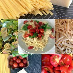 Linguine s bazalkou rajčaty a parmezánem