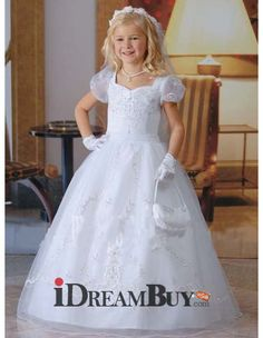 Girls Floor Length Catholic First Communion Dress/ Cap Sleeves Satin Flower Girl Dress - US$ 98.95 - iDreamBuy.com