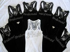 wedding bridal party lace tank tops- extremely cute!! Do the bridesmaids in the color of their dresses :)