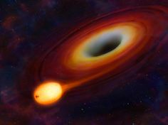 Image: A star being distorted by its close passage to a supermassive black hole at the centre of a galaxy