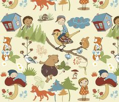 Children fabric ::: Cute fabric with these animals and kids enjoying an adventure in a green forest.
