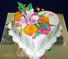 Kvietkované torty » Torta Srdce s kvetmi