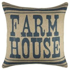 "Lend a touch of country-chic appeal to your sofa, arm chair, or window seat with this charming handmade burlap pillow, showcasing a bold typographic motif. Made in the USA.  Product: PillowConstruction Material: Burlap coverColor: Blue and beigeFeatures:  Made in the USAZipper enclosureHandmade by TheWatsonShop Typographic motif Insert included   Dimensions: 16"" x 16""Cleaning and Care: Spot clean"