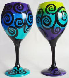 Set of 2 Swirly Tree Wine Glasses by WineMe on Etsy, $60.00