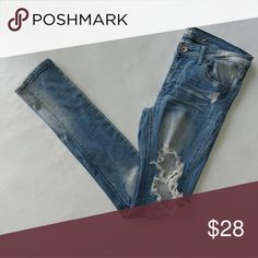 Distressed Denim - Machine Pour Neuf Mode Material: 97% Cotton, 3% Spandex Condition: Great Type: Skinny  ⚫NOTE⚫ Another top brand with great quality. These jeans have good stretch & very tapered at the ankle. These are definitely for that daring fashionista who sets her own path!!  👉Stock photo is for wearing suggesting only. Not actual jeans! Machine Pour Neuf Mode Jeans Skinny