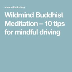 Wildmind Buddhist Meditation – 10 tips for mindful driving