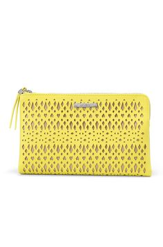 Citrine Yellow Perforated Clutch Bag | Double Clutch Citrine | Stella & Dot