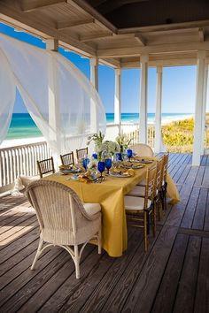 outdoor dining, ocean front deck, beach house lets go now Outdoor Rooms, Outdoor Dining, Patio Dining, Dining Tables, Dining Rooms, Dining Area, Outdoor Furniture Sets, Outdoor Decor, Coastal Living