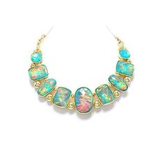 Faux Opal Gold Plated Statement Necklace Nicely Boxed ($28) ❤ liked on Polyvore featuring jewelry, necklaces, bib statement necklace, imitation jewelry, opal necklace, artificial jewellery and artificial jewelry