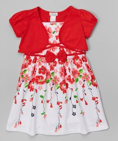 Look at this Red Floral Vine Dress & Shrug - Toddler & Girls on #zulily today!