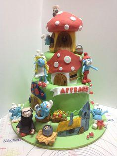 Smurf christening cake