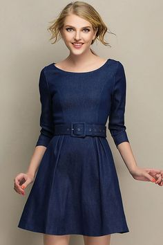 Dark Blue Jean Three Quarter Sleeve A Line Going Out Dress