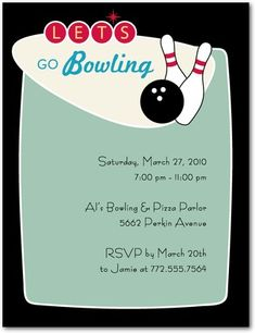 free bowling party invitations templates with blue background, invitation samples