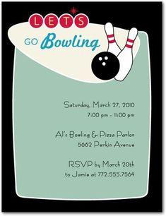 Retro Bowling Invite