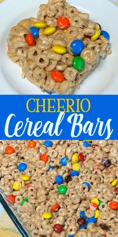 Our family loves dressing up classic Cheerios cereal with M&Ms, peanut butter and marshmallows to make super easy Cheerio and M&M Cereal Bars!  This recipe is made in the microwave which saves time. Cereal bars are perfect for breakfast and snacks.  #snack #cereal #breakfast