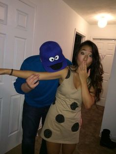 Cookie Monster and cookie couple's costumes