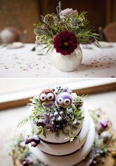 Love Bird Owl Floral Wedding  Cake