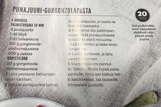 Punajuuri-gorgonzolapasta