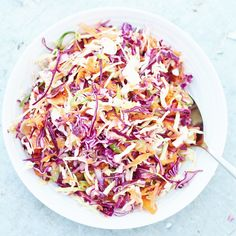 A lighter, fresher coleslaw…that tastes much better than the kind that's dripping with cream and mayonnaise AND is easy to make, my Easy No Mayo Coleslaw is perfect for picnics, BBQs and potlucks…and even amazing on top of a baked potato! Plus this version is dairy free and egg free and vegan, so can be enjoyed by almost everyone :-D